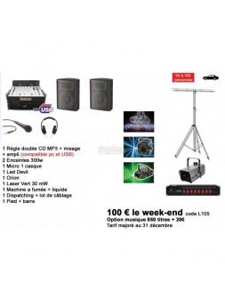 Offre CE 5 x Location Pack 3 Sono et lumieres + Option Musique