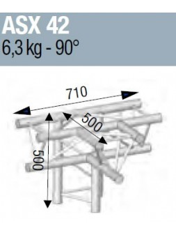 ASD - ANGLE ALU 290 4 DEPARTS 90° HORIZONTAL/PIED - ASX42M