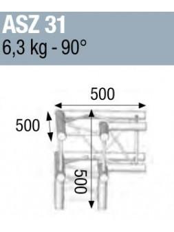 ASD - ANGLE ALU 290 CARREE 3 DEPARTS 90° PIED - ASZ31M