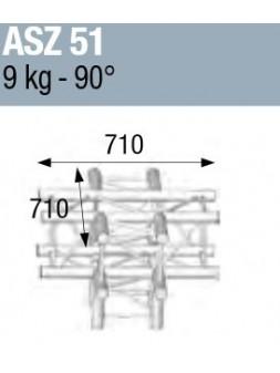 ASD - ANGLE ALU 290 CARREE 5 DEPARTS HORIZONTAL/PIED - ASZ51M
