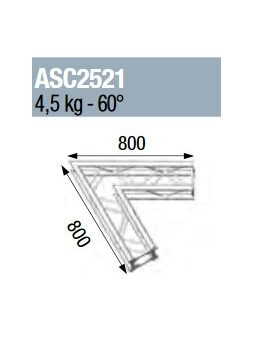 ASD - ANGLE 2D 60° SECTION 250 ALU CARRE - ASC2521