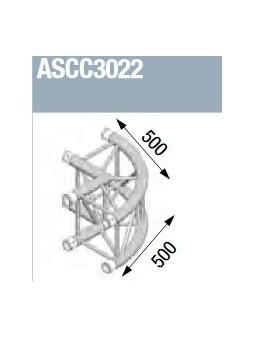 ASD - Angle alu 300 Carré 2 départs 90° arrondi extérieur - ASCC3022