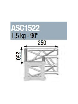 ASD - ANGLE 2D 90° SECTION 150 ALU CARRE - ASC1522