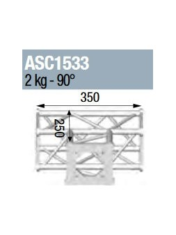 ASD - ANGLE 3D 90° SECTION 150 CARRE ALU - ASC1533