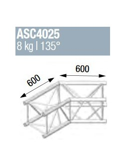 ASD - ANGLE ALU 390 CARREE 2 DEPARTS 135° - ASZ4025