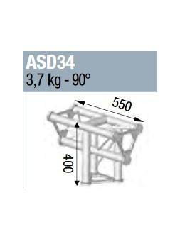 ASD - ANGLE ALU 250 TRIANGULAIRE 3 DEPARTS 90° VERTICAL - ASD34