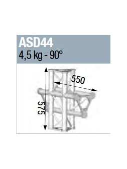 ASD - ANGLE ALU 250 TRIANGULAIRE 4 DEPARTS 90° VERTICAL/MEDIAN G - ASD44
