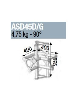 ASD - ANGLE ALU 250 TRIANGULAIRE 4 DEPARTS 90° VERTICAL/MEDIAN D - ASD45