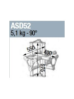 ASD - ANGLE ALU 250 TRIANGULAIRE 5 DEPARTS HORIZONTAL/PIED/VERTICAL - ASD52