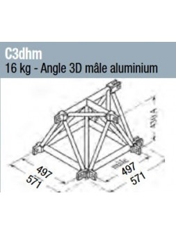 ASD - Angle 3D mâle structure alu 500 triangulaire - C3DHM