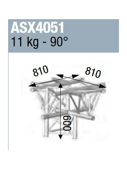 ASD - ANGLE ALU 390 5 DEPARTS CROIX A PLAT 90° - ASX4051