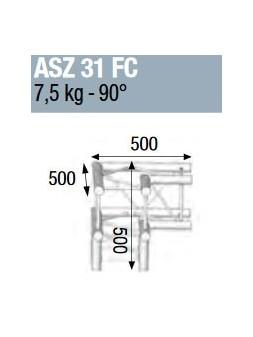 ASD - ANGLE ALU 290 CARREE 3 DEPARTS 90° PIED FORTE CHARGE - ASZ31FC