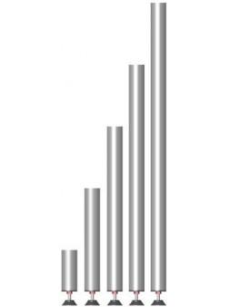 ASD - PIED AJUSTABLE en TUBE ALU 50x3x410mm., 0,50 m. ht plancher avec embout M10 PVC - PA050