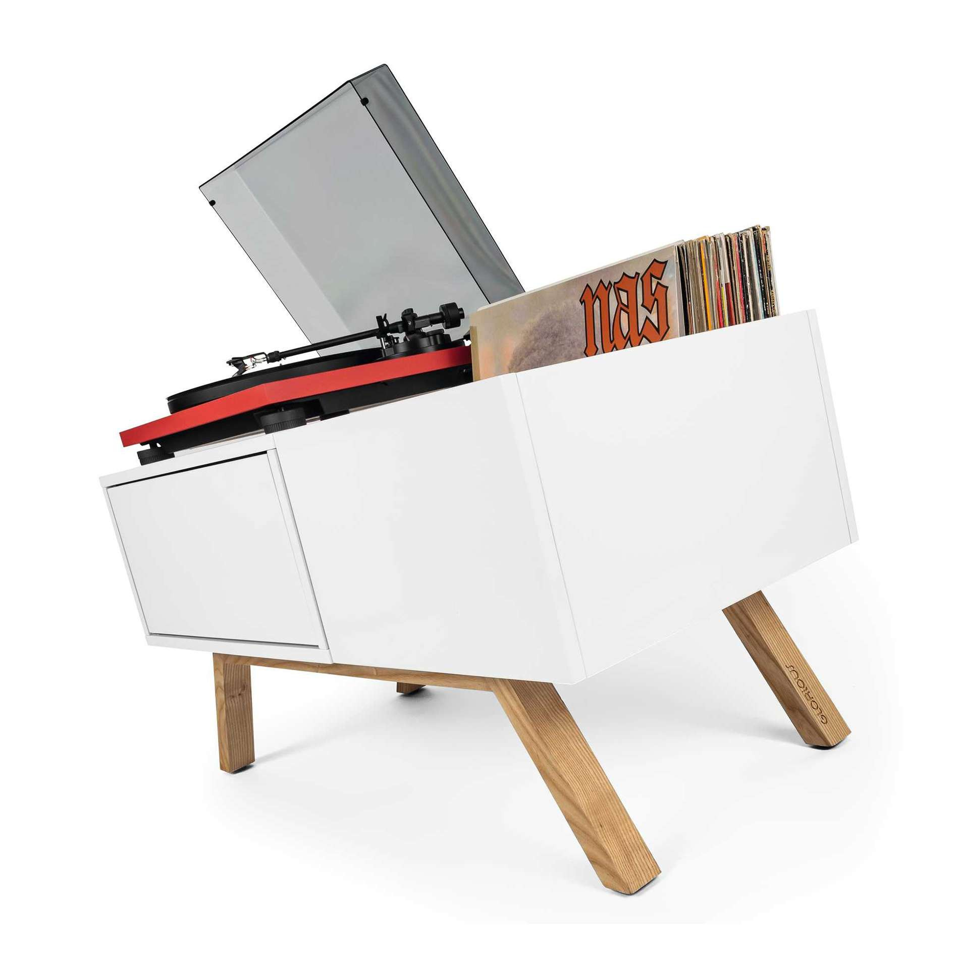 Glorious Dj Meuble Blanc Retro Pour 130 Vinyles Turntable Lowbo