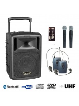 Power Acoustics - Sonorisation - Sono portable CD MP3+USB+DIVX+2 micros main UHF+BODY PACK+bluetooth - BE 9610 UHF PT ABS