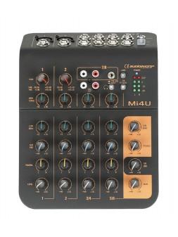 Audiophony - Mi4U Mixer 4 canaux 2 microphone, 2 stéréo, 1 Aux et port USB - 10910
