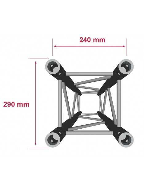 QUA29-050 - Quatro aluminium 290mm longueur 50cm