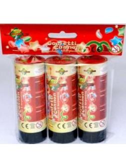 Sachet 3 canons à confettis 10,8cm
