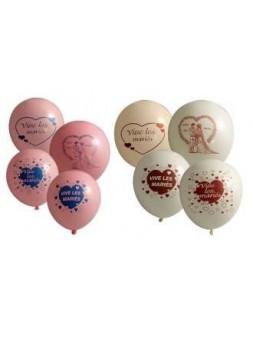 10 ballons Vive les Mariés 1 face 12p rose et blanc assortis