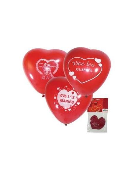 3 Gros ballons coeur Rouge 15p imprimés Vive les mariés SC (2200)