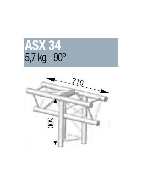 ASD - ANGLE ALU 290 3 DEPARTS 90° VERTICAL - ASX34M