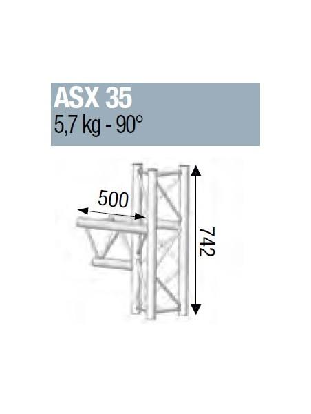 ASD - ANGLE ALU 290 3 DEPARTS 90° MEDIAN - ASX35M
