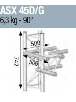 ASD - ANGLE ALU 290 4 DEPARTS 90° VERTICAL/MEDIAN Droit ou gauche - ASX45M