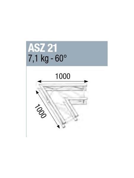 ASD - ANGLE ALU 290 CARREE 2 DEPARTS 60° - ASZ21M