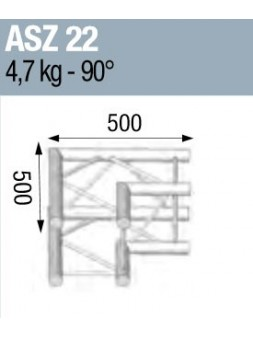 ASD - ANGLE ALU 290 CARREE 2 DEPARTS 90° - ASZ22M