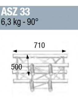 ASD - ANGLE ALU 290 CARREE 3 DEPARTS 90° HORIZONTAL - ASZ33M