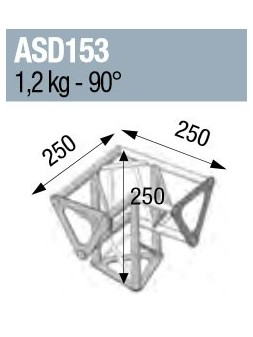 ASD - ANGLE 3D PIED 90° SECTION 150 ALU TRIANGULAIRE - ASD153