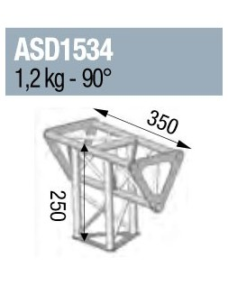 ASD - ANGLE 3D 90° PIED INTERMEDIAIRE SECTION 150 TRIANGULAIRE ALU - ASD1534