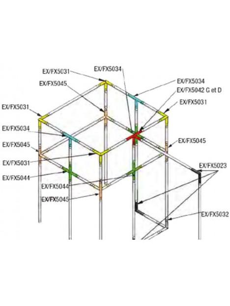 ASD - Angle 2 départs 90° descendant lg 0m25 x 0m25 - FX5023