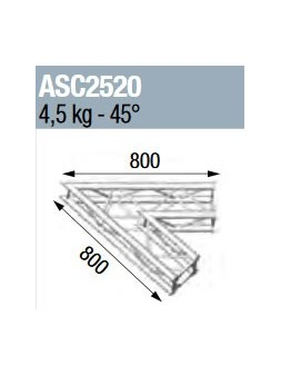 ASD - ANGLE 2D 45° SECTION 250 ALU CARRE - ASC2520