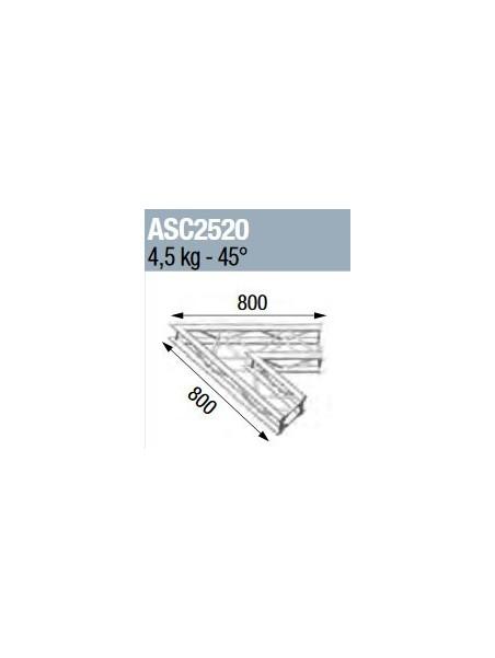 ASD - ANGLE 2D 45° SECTION 250 ALU CARRE - ASC2520