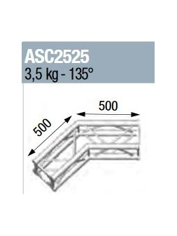 ASD - ANGLE 2D 135° SECTION 250 ALU CARRE - ASC2525