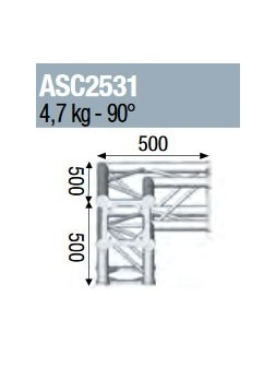 ASD - ANGLE 3D 90° SECTION 250 ALU CARRE - ASC2531