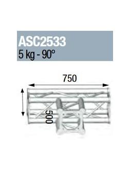 ASD - ANGLE 3D 90° SECTION 250 ALU CARRE - ASC2533