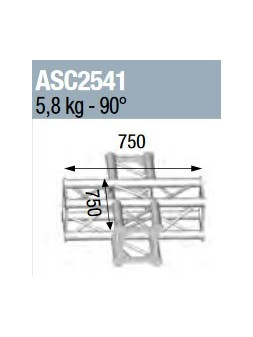 ASD - ANGLE 4D 90° SECTION 250 ALU CARRE - ASC2541