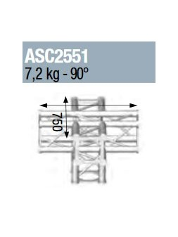 ASD - ANGLE 5D 90° SECTION 250 ALU CARRE - ASC2551