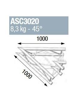 ASD - ANGLE ALU 290 CARRE 2 DEPARTS 45° - ASC3020