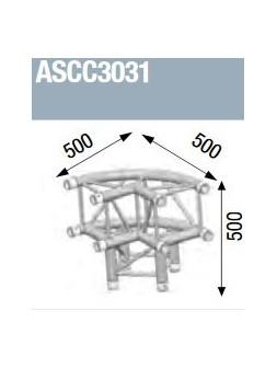 ASD - Angle alu 300 Carré 3 départs pied 90° arrondi extérieur - ASCC3031