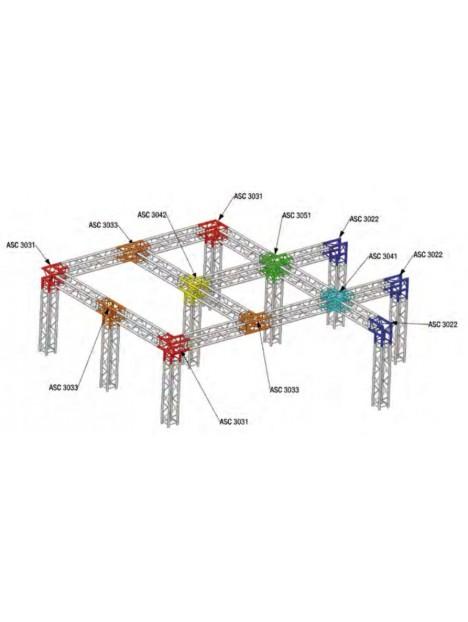 ASD - ANGLE ALU 290 CARRE 5 DEPARTS 90° PIED - ASC3051