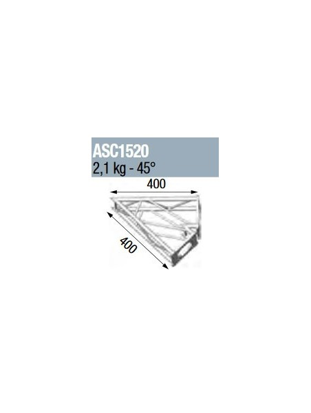 ASD - ANGLE 2D 45° SECTION 250 ALU CARRE - ASC1520