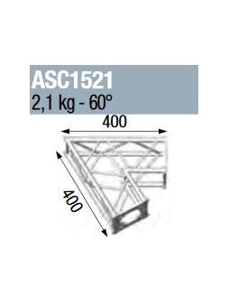 ASD - ANGLE 2D 60° SECTION 150 ALU CARRE - ASC1521