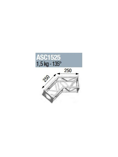 ASD - ANGLE 2D 135° SECTION 150 ALU CARRE - ASC1525