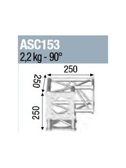 ASD - ANGLE 3D PIED 90° SECTION 150 ALU CARRE - ASC153