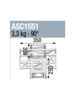 ASD - ANGLE 5D 90° SECTION 150 CARRE ALU - ASC1551