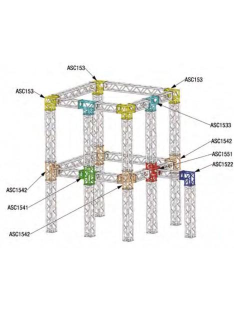 ASD - ANGLE 3D PIED 90° SECTION 150 ALU CARRE - ASC153