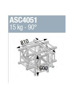 ASD - ANGLE ALU 390 CARREE 5 DEPARTS PIED 90° - ASZ4051